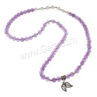 Gemstone Freshwater Pearl Necklace Amethyst with pearl & Zinc Alloy Leaf antique silver color plated also can be wired as wrap