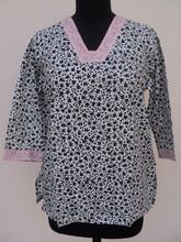 Belle 2015 dernières blanc et noir commbination meilleur de tunique et blouses / écran imprimé blouses