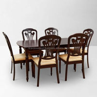 Lucas 6 Seater Dining Table With Chairs Brown For apartments hot sale living room Luxury cheap wholeselling handmade Traditional