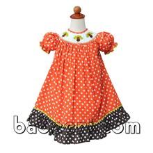Thanksgiving girl bishop dress with Turkey smocked pattern - BB355