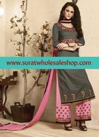 In party wear palazzo semi stitch salwar kameez\latest pure cotton palazzo style dress material surat wholesale shop