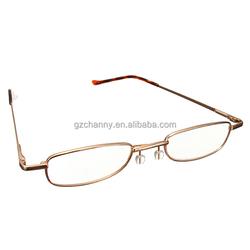 Reading Glasses in Plastic/Aluminum Pen Tube Case Golden +1.5