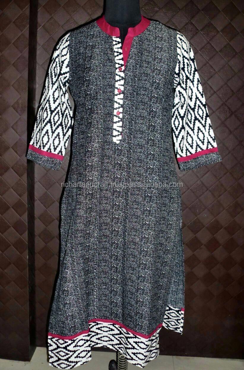 Ethniques Jaipur Sanganeri Imprimé Indien Robe Pour Filles D'été Saison Dames Kurtis À La Mode Long Kurti