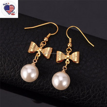 Girl's Lover Bowknot Dangle Earring 18k Real Gold Plated Pearl Earring Designs