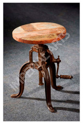 IRON INDUSTRIAL STOOL WITH WOODEN TOP, IRON INDUSTRIAL ROUND TABLES IN INDIA