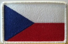 Czech Republic Flag Embroidery Iron-On Patch White Border
