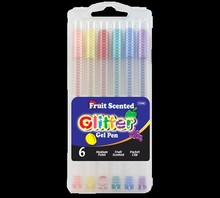 BAZIC 6 Fruit Scented Glitter Color Gel Pen with Case