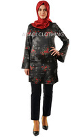 2015 last fashion long sleeve tunic / blouse / long shirt made in turkey istanbul with floral patterned and wide wrist