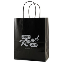 """USA Made Gloss Coated Shopping Bag - made of #63 white kraft paper, dimensions are 8"""" x 4.75"""" x 10.5"""" and comes with your logo."""