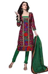 Variation Maroon Jacquard Printed Art Crepe Dress Material