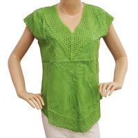 Green Ethnic Top Party Wear Kurti Casual Dress Pure Cotton Crochet Fashion India Gift TOP1674