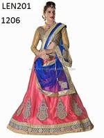 New Designer pink color with blue dupatta /Designer Lengha For Bridal Wear New Latest Collection Lengha Choli