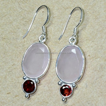 Rose Chalcedony & Garnet 925 Sterling Silver Handcrafted Earring Contemporary Earring X1355