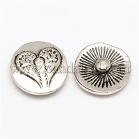 Environmental Alloy Jeans Snap Buttons, Flat Round Carved Double Wings, Cadmium Free & Nickel Free & Lead Free SNAP-F004-73-NR