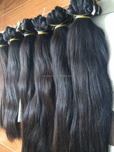 Top quality virgin human single drawn straight Unprocessed soft shine hair extension in machine weft