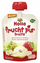 Holle - Apple & Banana with pear Pouchy - fruit in squeeze bag, 90g