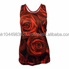 polyester/spandex women sublimation printed stringer tank top