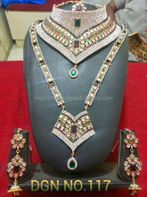 2015 Maroon and Green colored Full Bridal diamond Jewelery set-Bridal jewelry Online Wholesale-Wedding wear Dulhan sets