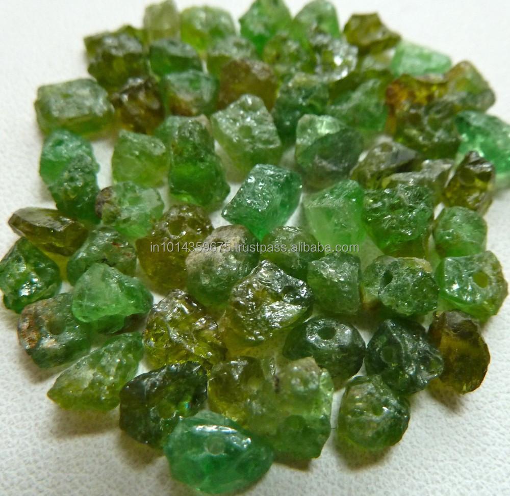 Semi Precious Gemstone Raw Stone : Tsavorite green garnet gemstone rough raw material natural