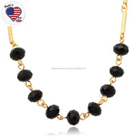 Ruby Beads Necklace Design 18K Real Gold Chain Natural Gemstone Necklace