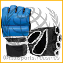 Black with white padded MMA Gloves, Fighting gear good quality in cheap prices