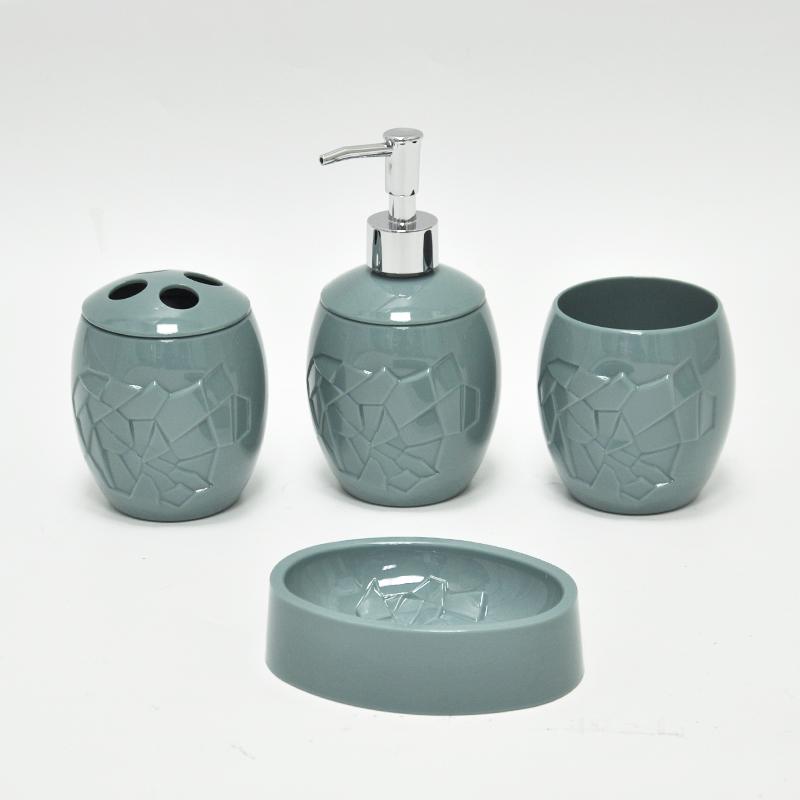 Decorative deep green oval bathroom accessories set buy for Fancy bathroom accessories sets