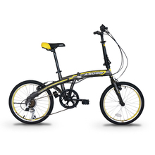"ASOGO 20"" Folding Bike Foldable Bicycle Matte Brown with Yellow"