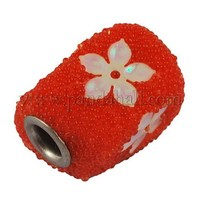 Indonesia Beads with Iron Core, Rectangle, Orange, about 18mm long, 14mm wide, 14mm thick, hole: 4.3mm CPDL125Y-3