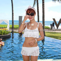 New Sexy Women's Lace Skirts Bikini Push-up Bathing Swimwear Swimsuit Swim White