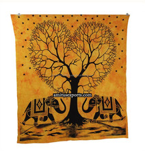 Yellow & Black Heart Tree Elephant Wall Tapestry Mandla Tie & Dye Beach Hanging Tapestries Hippie Manufacturer In India Jaipur