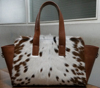 Cow Hair-on genuine leather tote bag