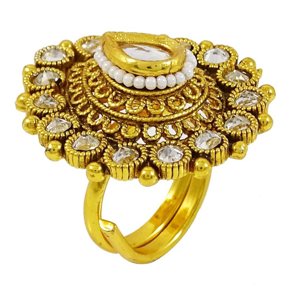 indian ethnic gold plated ring bridal wedding