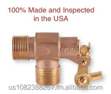 "3/8"" Brass Float Valve - NPT Male Inlet and Outlet, Adjustable-angle Rod Connection - 125 PSI"