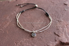 Double Strand Bracelet with Spiral Silver Charm Fair Trade