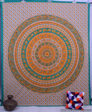 Indian Elephant Mandala Queen Cotton Handmade Wall Hanging Throw Ethnic Hippy Bohemian Tapestry, Bedspread, Bed sheet Decor Art
