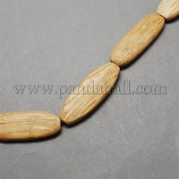 Coconut Beads Strands, Natural, Oval, Wheat, 46x16x6mm, Hol;e: 2mm COCB-Q002-8