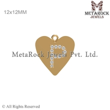 14k Yellow Gold Diamond Connector Finding, P Design Initial Charm Gold Pendant, Fashion Design Gold Diamond Finding