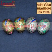 Hand Painted Birds on Silver & Golden Decorative Wooden Easter Egg - 2015 Custom Made Easter Eggs for Wholesale