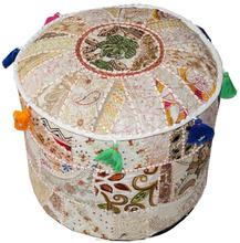 Indian Round Cushion Seating Ottoman Covers Embroidered Decor Pouf Covers Pouffe