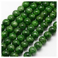 Natural Diopside Beads Strands, Round, DarkGreen, 10mm, Hole: 1mm G-J120-10-10mm