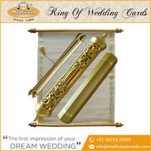 Royal Scroll Invitations Card With Attractive Golden Case