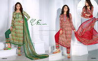 Glace Cotton Printed & Embriodered Salwar Kameez