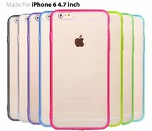 For iphone 6 Plus Clear Transparent TPU Case Hybrid TPU + PC Back Cover for S6 6 edge Colorful Bumper Skin