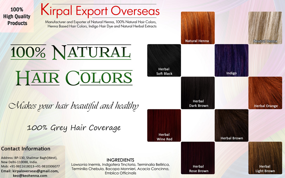 100% Natural Hair Colors