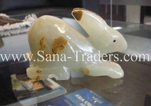 Natural Marble Onyx Designed Marble Standing Rabbit, Multi Green