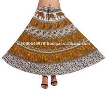 Indian impreso faldas largas wrap modelo