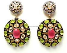 Alloy Kundan Meena & CZ Earring