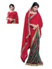 HALF CHIFFON & HALF GEORGETTE PRINTED SAREE IN DOUBLE COLOR