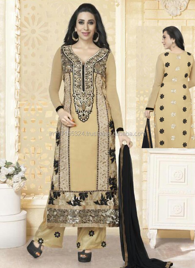 Indiase bollywood actrice karishma kapoor nieuwe stijl stof oranje ...