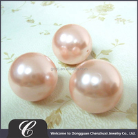 Guangdong Best Selling Pink Color 30mm Faux Pearl Types Of Beads With Hole